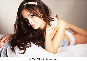 Woman Relaxing in Bed - Beauty Woman Relaxing in Bed