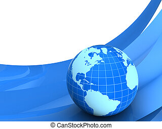 Planet earth on blue curves over white background