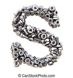 Alphabet from nuts and bolts isolated on white