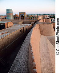 Khiva at sunset - Fortress wall in Khiva Uzbekistan