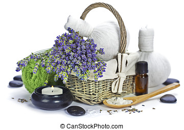 lavender spa fresh lavender flowers in a basket, essential...