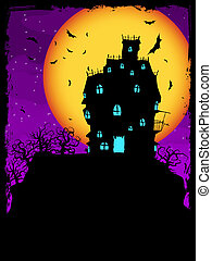 House on hill at night with moon. EPS 8 - Vector Haunted...