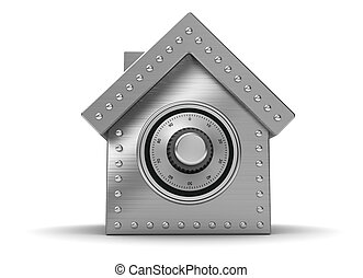 Safe - Iron safe in form houses isolated on white background