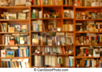 Book shelves - blur wooden bookshelves with various colorful...