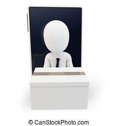 3d man online shipping over generic smartphone