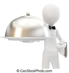 3d man waiter with silver tray isolated on white