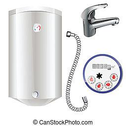 chaudière, chauffage, eau, eau, mètre