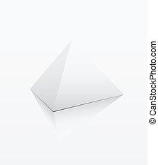 White pyramid on white background