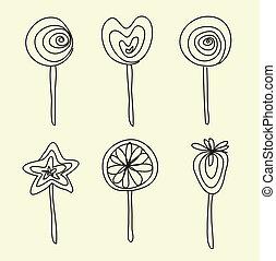 Hand drawing lollipops cartoon doodle