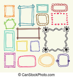 Hand drawn  photo frames - Vector