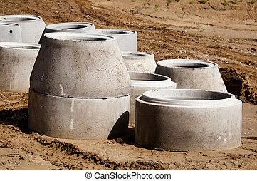 Concreto, tubos, Drenaje