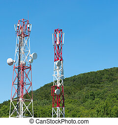 broadcasting towers In mountains