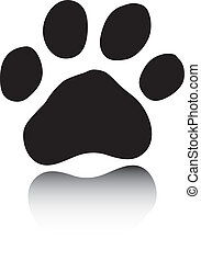 Black paw on white background - Vector