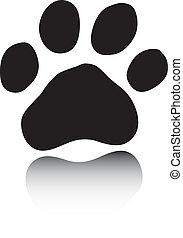 Black paw on white background