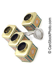 tea boxes close up - object on white - kitchen utensil...