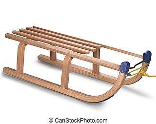 wooden sledge on white, clipping path