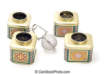 tea boxes with strainer - object on white - kitchen utensil...