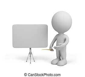 3d person with empty board 3d image Isolated white...