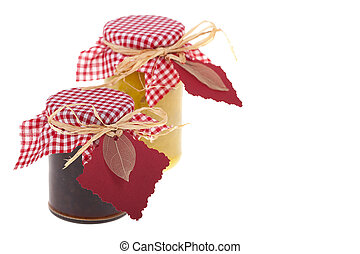 Chutney gifts - Homemade chutney gifts. On white background...
