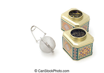 tea-strainer with tea box - object on white - kitchen...