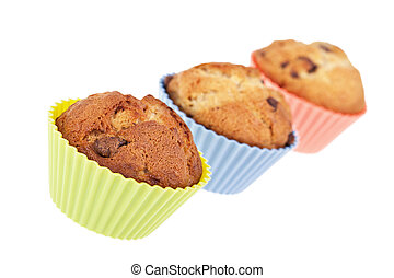 Muffin trio - Three chocolate chip banana muffins....