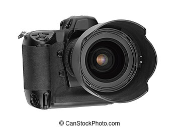 professional digital Lens Reflex- front view (clipping path)
