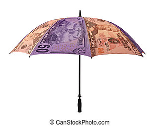Business concept: umbrella of money. Isolated over white.