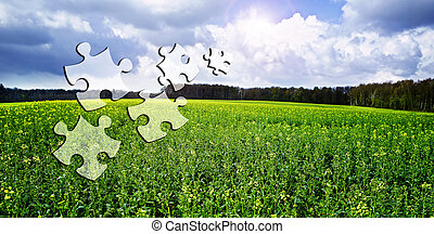 Business Solutions. Conceptual image with falling puzzle...