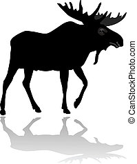 Moose silhouette vector illustration isolated on white