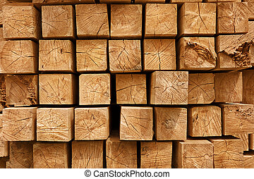 Wooden beams background - Wooden beams in dryer - building...