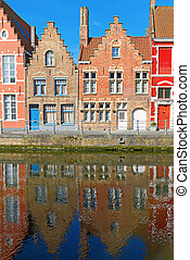 Brugges, Belgium - detailed view of typical houses and canal...