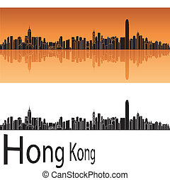 Hong Kong skyline in orange background in editable vector...