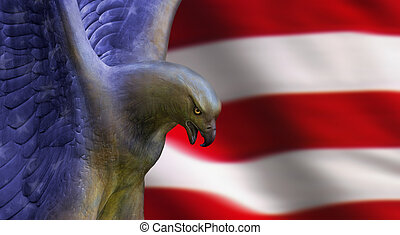 Eagle - an american eagle atop the american flag