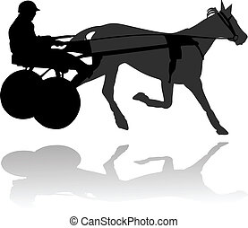 Race horse-drawn carts vector illustration