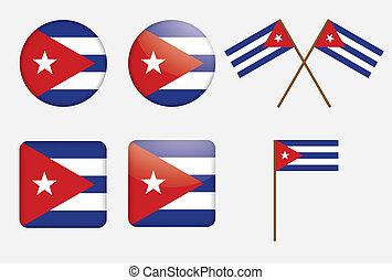 badges with flag of Cuba