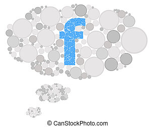 Facebook thinking cloud isolated on the white background