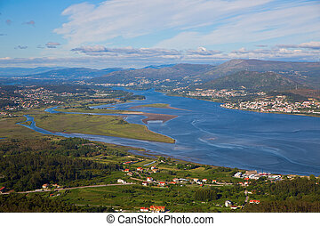 Rio Miño estuary, the frontier between Spain and Portugal