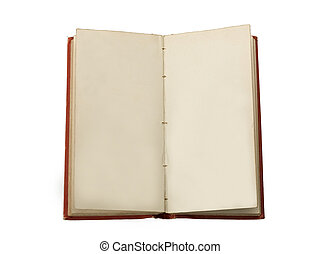 An old book open to two blank facing pages , Isolated on...