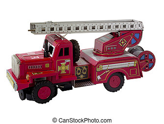 rare vintage fire truck toy isolated on white (clipping...