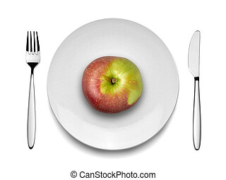 Red apple on white plate with knife and fork, view from top...