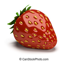 strawberry - shiny strawberry 3d image Isolated white...