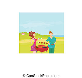 Barbecue Party - cook and girl