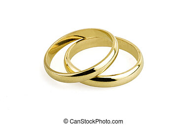 old wedding rings (clipping path )