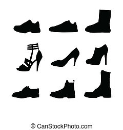 Men and women shoes silhouettes isolated on white background...