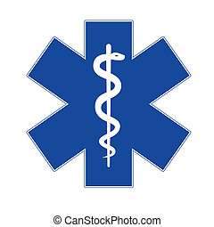 Emergency star blue on white background