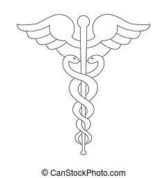 Caduceus symbol black outline isolated on white.