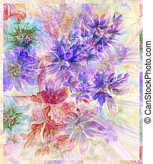 Water colour, abstract flowers - Picture, abstract flowers....