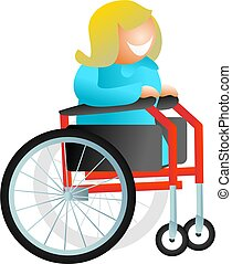 wheelchair woman - isolated illustration of a happy woman in...