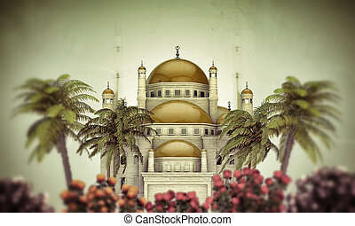 mosque in old grunge photo