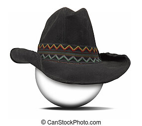 Black cowboy stetson felt classy hat isolated on white -...